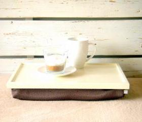Wooden Laptop Lap Desk or Breakfast serving Tray - Off White with Brown irregulary dotted, slighty shinny polyester fabric- Custom Order