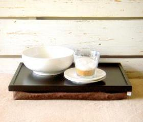 Wooden Laptop Lap Desk or Breakfast serving Tray - Black with Brown irregulary dotted, slighty shinny polyester fabric- Custom Order