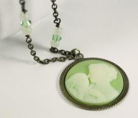 mom and baby cameo necklace green with antiqued brass