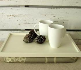 Breakfast serving bed table or laptop lap desk with pillow- Off White with creme jaquard fabric