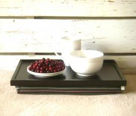 Wooden Laptop Lap Desk or Breakfast serving Tray - Black with Grey, mint and pale red striped polyester fabric- Custom Order