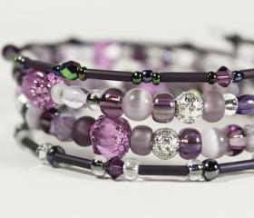 pink purple and silver memory wire bracelet