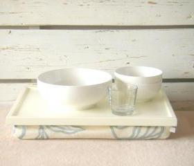  Laptop Lap Desk or Breakfast serving Tray - Off White with Creme cotton, linen mix fabric with silver Abstract flower print- Custom Order