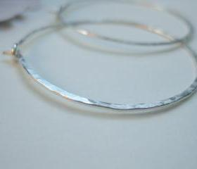 Hammered sterling hoop earrings, silver hoops