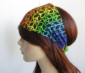 Rainbow Peace Sign Headband Women's Hippie Head Wrap Colorful Cotton Print Psychedelic Elastic Bandana