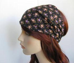 Black Floral Headband Women's Boho Gypsy Wrap Hair Bandana Cotton Fabric Traditional Head Covering