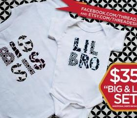  Big and Lil, Bro and Sis, t-shirt and onesie