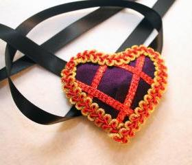Purple Satin Heart Eyepatch Red/Gold Trim With Black Ribbon Ties