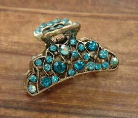 Teal Blue Rhinestone Wavy Filigree Hair Claws