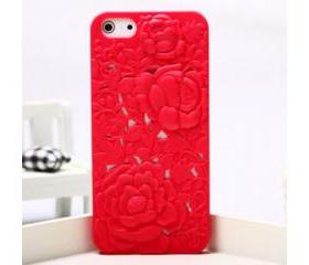 Red Silicone Peony Carved iPhone 5 Case