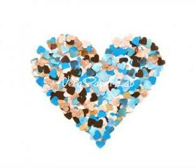 300 turquoise and brown little hearts punches - confetti