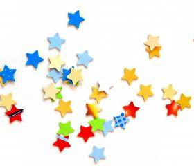 300 colorful little stars punchies - confetti