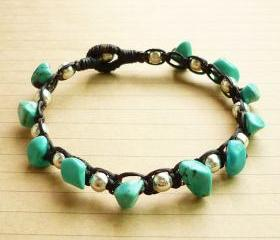 The Silver Ball Bead and Blue Turquoise Stone with Black Wax Cord Bracelet - Customized Bracelet - Gift under 15