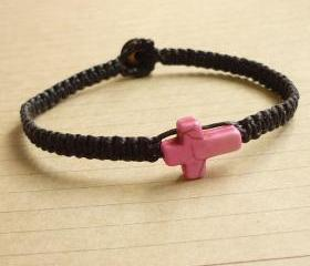 The Pink Cross Bracelet - Pink Cross Magnesite Stone Bead Bracelet - Cross Wax Cord Bracelet / Wristband - Customized Bracelet - Gift under 10