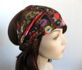 Japanese Tapestry Headband Women's Head Wrap Asian Flower Garden Hair Bandana Designer Fabric Autumn Fall Fashion Style