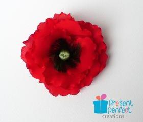 Red poppy corsage, veteran poppy flower, Remembrance poppy