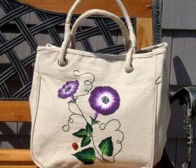Natural Tote Bag with Purple Flowers and Ladybug Charm