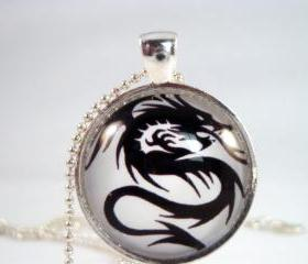 Black Dragon glass pendant necklace