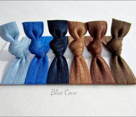 Elastic Hair Ties - Set of 6 - Blue Cove Collection - Mane Accessory