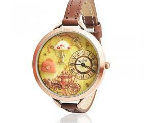 Vintage Polymer Clay Embellished Brown Leather Watch