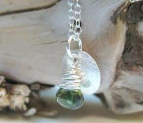 Tourmaline charm necklace, forest green tourmaline silver disc