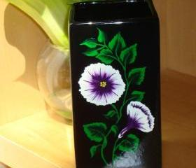 Black Vase/ Catch All with Purple and White Flowers