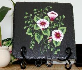 Black Trivet/ Spoon Rest With Burgundy and White Flowers