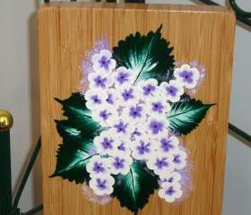 Bamboo Trivet/ Spoon Rest with Lavender Flowers