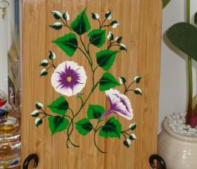 Painted Bamboo Trivet With Flowers and Bright Green Leaves