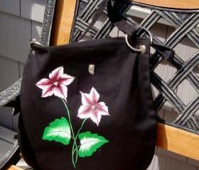 Black Messenger Bag with Burgundy and White Flowers and Butterfly Charm