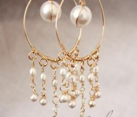 Bridal chandelier Earrings, Pearl Drop Gold Earrings, Wire wrapped Unique Handmade Jewelry