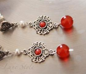 Dangle Earrings, gemstone Earrings, Coral Red cabochon and Carnelian beads, Pearl Drops, Sterling Silver Jewelry