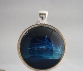 Aurora Borealis glass pendant necklace