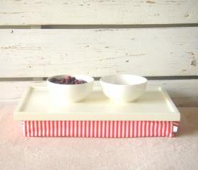  Laptop Lap Desk or Breakfast serving Tray - Off White with White and Orange Striped Lycra Pillow