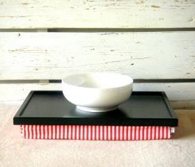 Laptop Lap Desk or Breakfast serving Tray - Black with White and Orange Striped Lycra Pillow