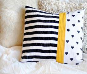 Cushion - Quilted Pillow - Black White and Yellow - 'Sunny Road'