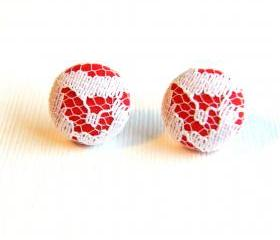Red with White Lace Fabric Covered Button Stud Earrings