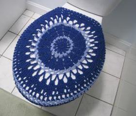 Crochet toilet seat cover or crochet toilet tank lid cover - royal blue/blue bell (TSC13 or TTL11)