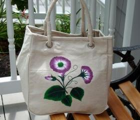 Painted Tote/ Purse/ Handbag wih Purple and White Flowers