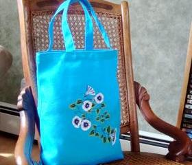 Turquoise Tote Bag With White and Blue Flowers