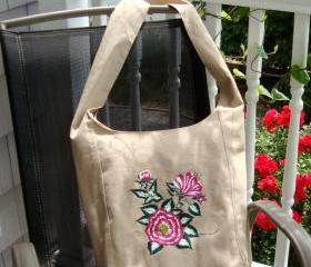 Crossbody Hobo Bag with Magenta and White Flowers