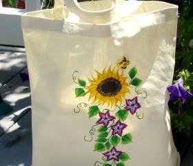 Tote Bag With A Yellow Sunflower and Purple Accent Flowers