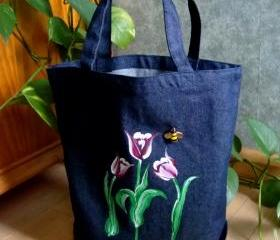Denim Tote Bag with Red and White Tulips and a Bumblebee Charm