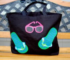 Beach Bag / Tote With Painted Flip Flops and Sunglasses