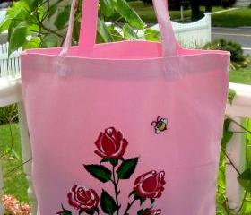 Two Strapped Pink Tote With Painted Red Roses