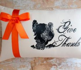 Thanksgiving Pillow, Fall Decor, Turkey, Give Thanks, Autumn