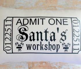 Christmas Pillow, Santa, Christmas Decor, Ticket, Home Decor, Housewares
