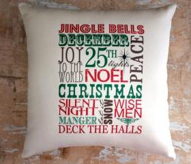 Christmas Pillow, Subway Art, Merry Christmas, Christmas Decor, Holidays