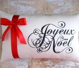 Christmas Pillow, Joyeux Noel, Christmas Decor, French Christmas, French Country, Throw Pillow