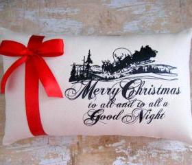 Christmas Pillow, Holidays, Santa, Santa Silhouette, Merry Christmas, Holiday Decor